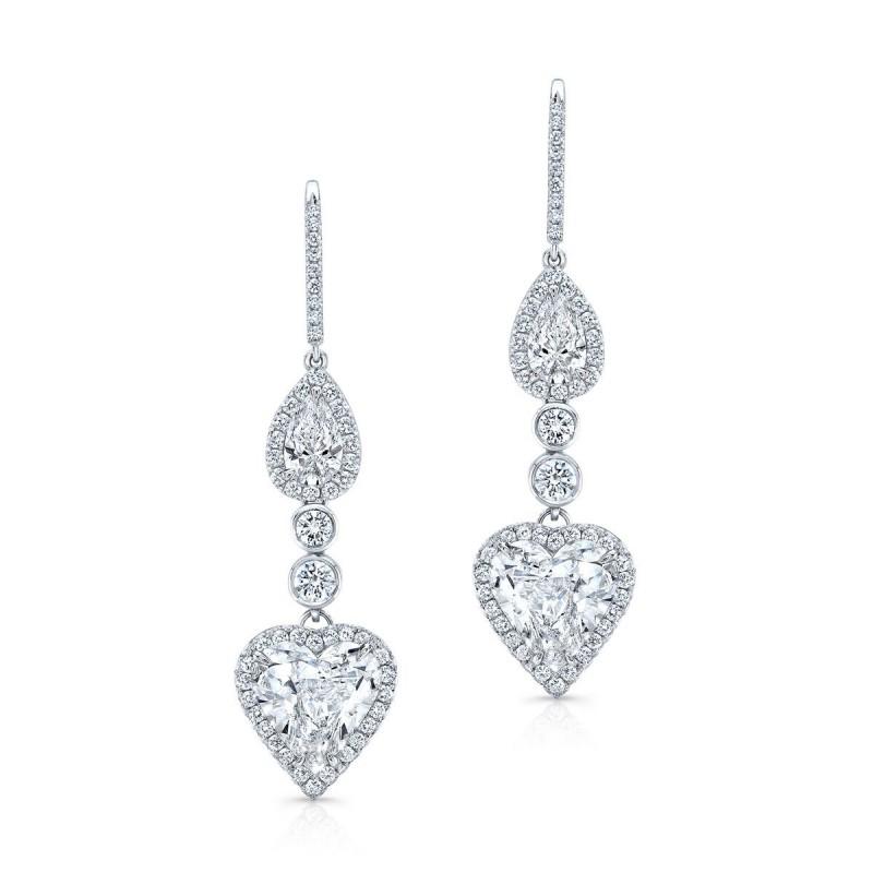 Detachable Heart Shaped Drop/Stud Diamond Earrings in Platinum