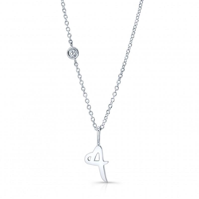 Original ALPHABET Necklace with Diamond in 18K White Gold