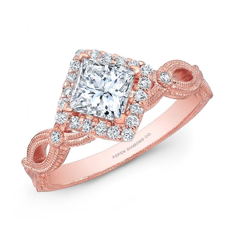 Princess Cut Diamond Halo Engagement Ring in 18K Rose Gold