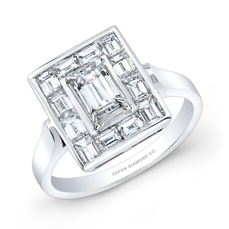 Multi-Baguette Diamond Ring in 14K White Gold