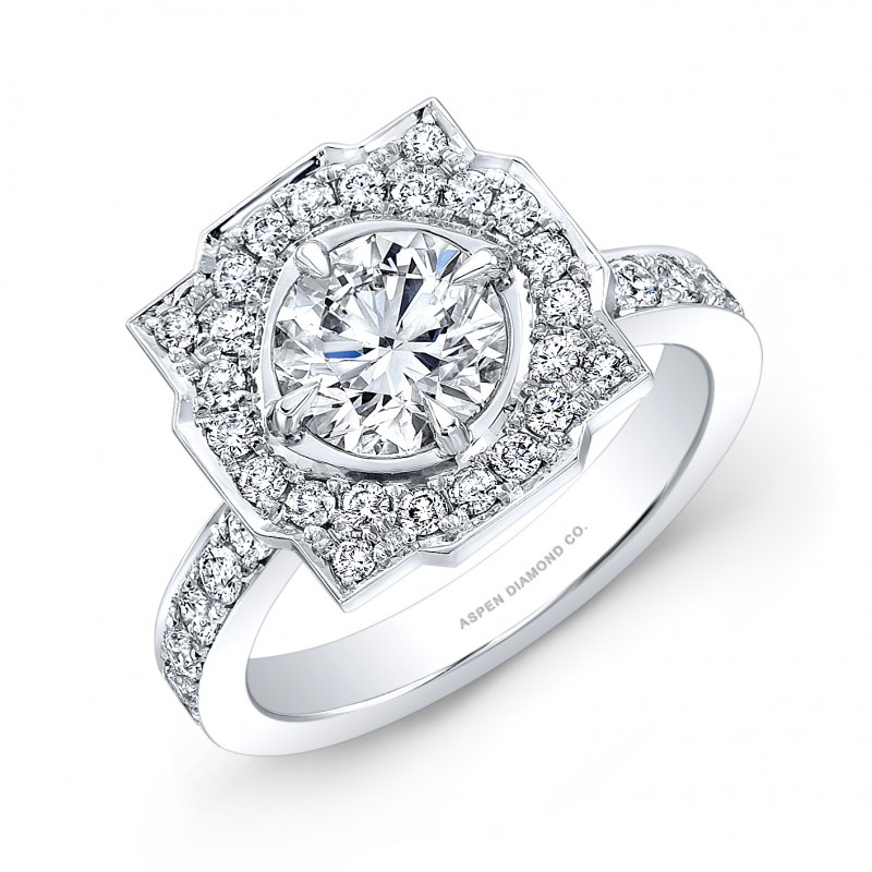 Round Brilliant Diamond with Clustered Pave Setting Engagement Ring in Platinum