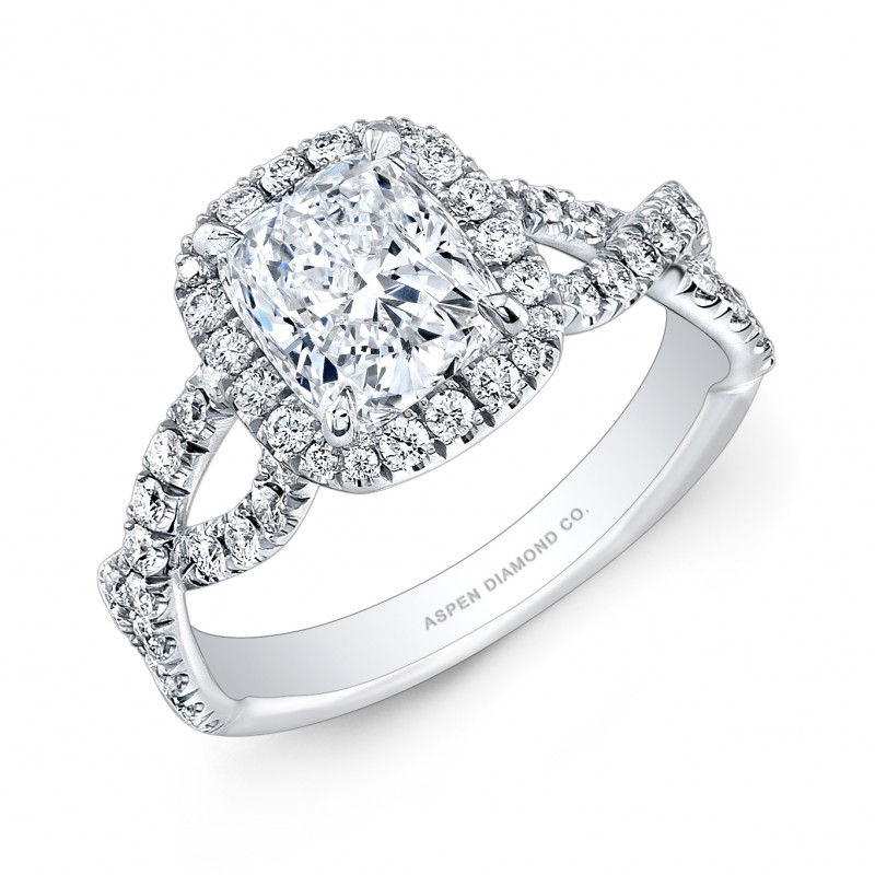 Cushion Cut Diamond Engagement Ring in 18K White Gold and Palladium