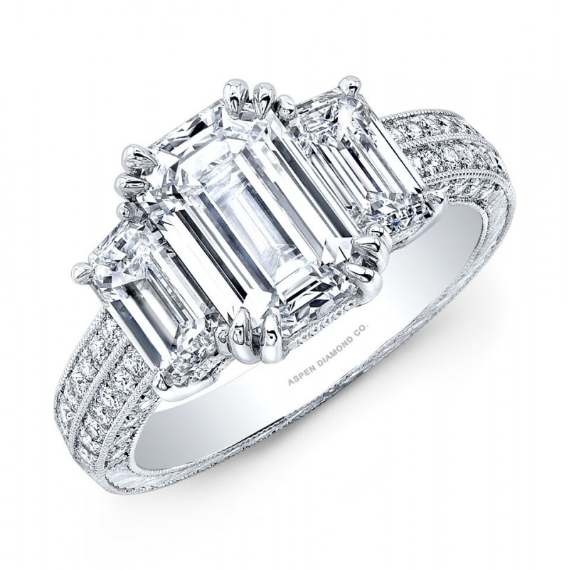 Three Stone Emerald Cut Diamond Engagement Ring in Platinum