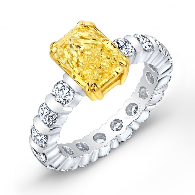 Radiant-Cut Yellow Diamond Engagement Ring in Platinum