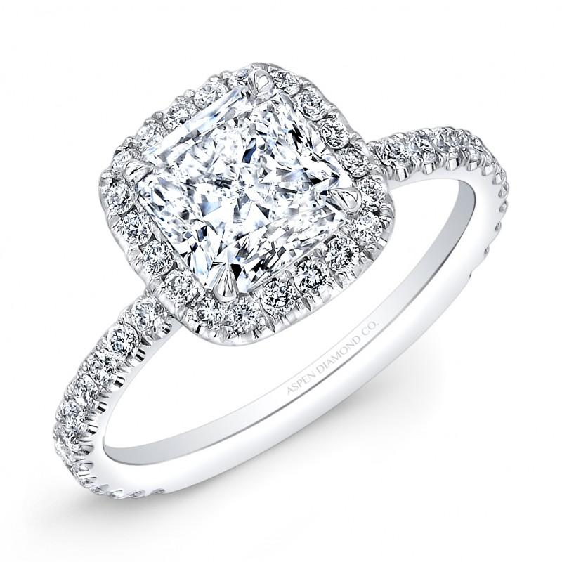 Cushion Cut Diamond Halo Engagement Ring in Platinum