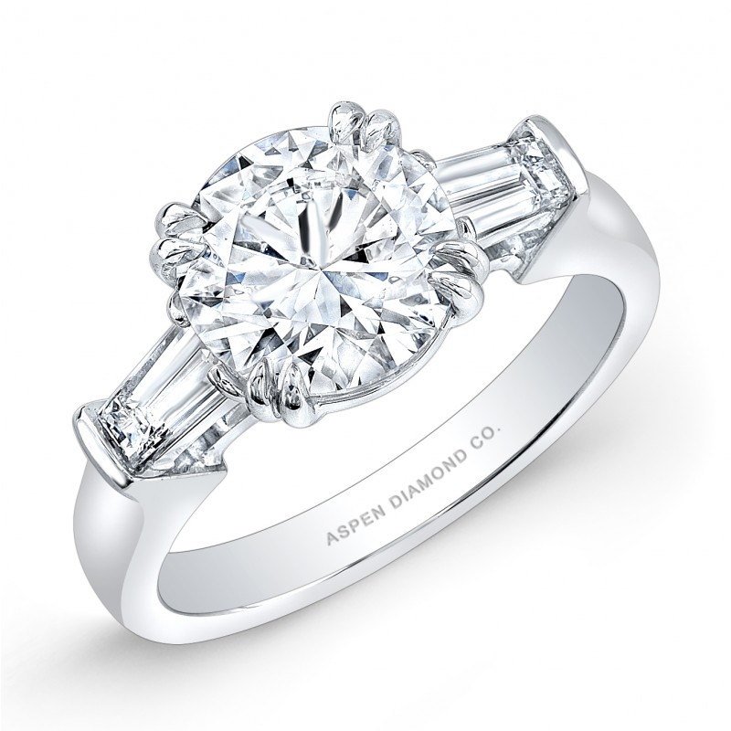 Round Brilliant Diamond Tapered Baguettes Engagement Ring in Platinum