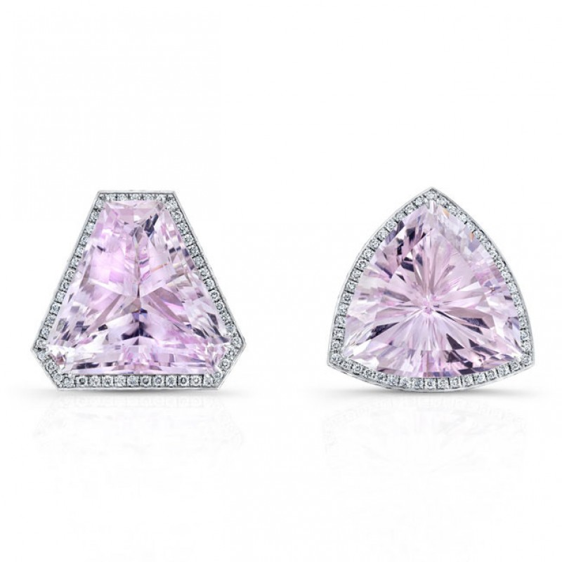 Kunzite with Micropave Diamond Earrings in 18K White Gold
