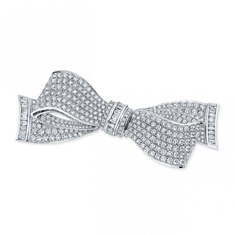 Diamond Ribbon Brooch in 18K White Gold
