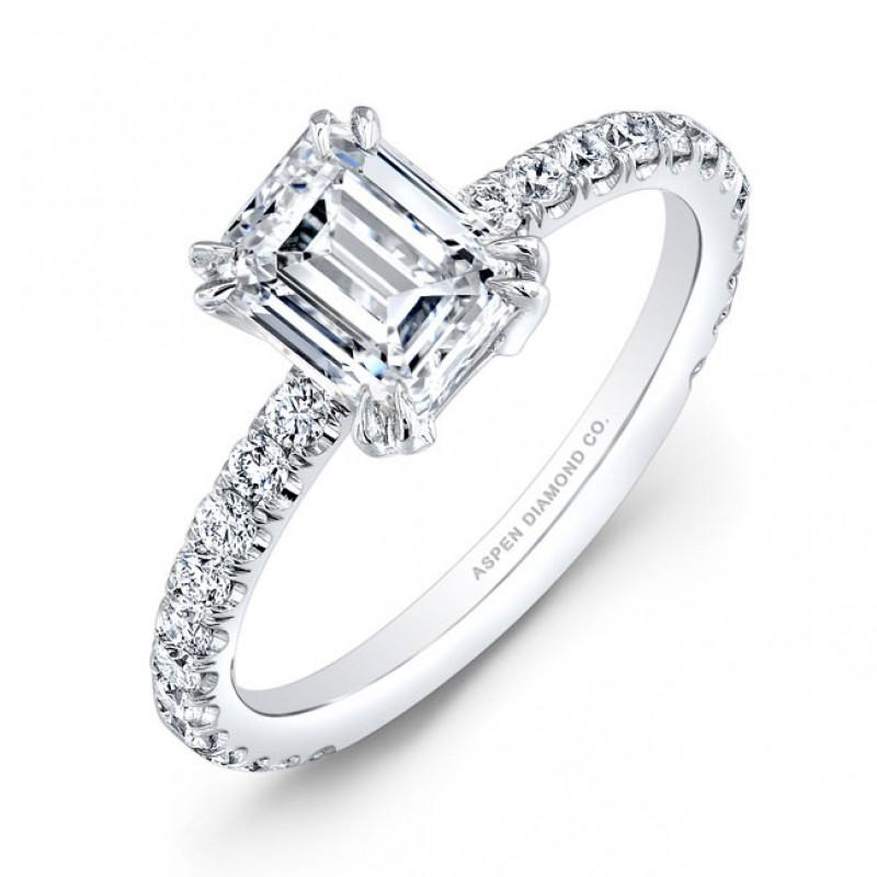 Emerald Cut Diamond Engagement Ring in Platinum