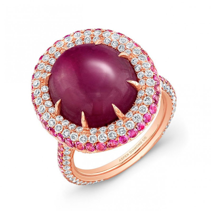 Cabochon Ruby with Pink Sapphire and Diamond Ring in 18K Rose Gold