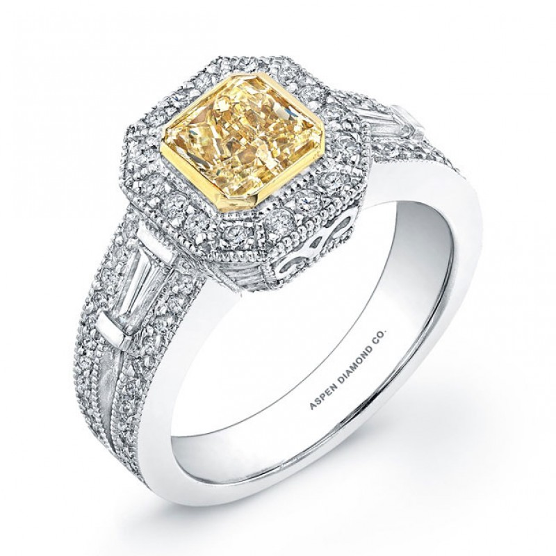 Radiant Cut Yellow Diamond Engagement Ring in 18K White Gold
