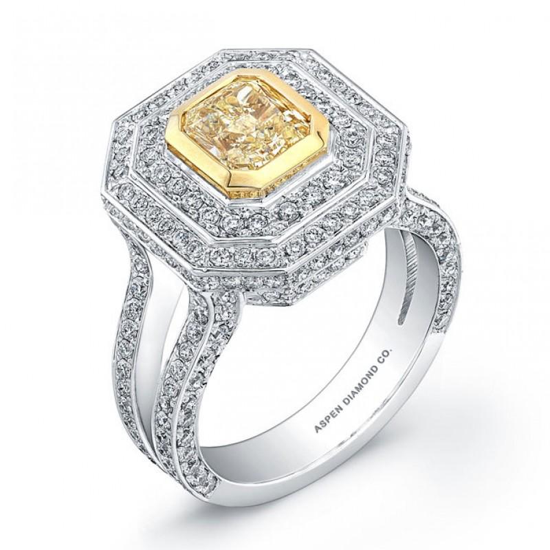 Fancy Yellow Diamond Ring in 18K White Gold