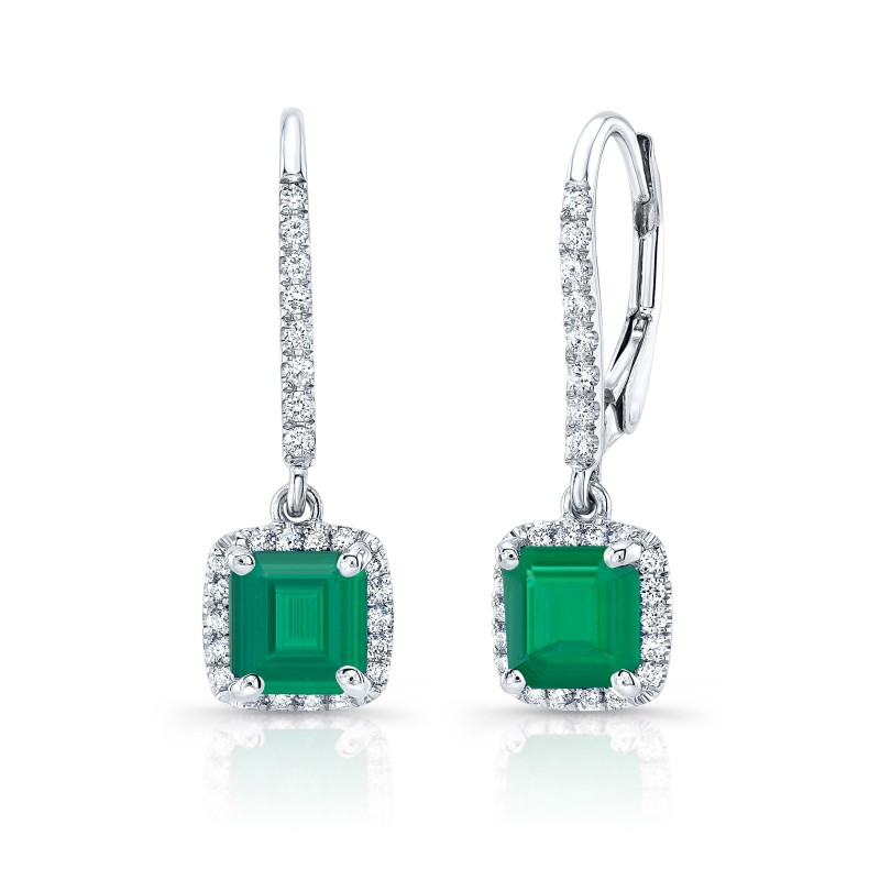 EMERALD DANGLING DIAMOND EARRING