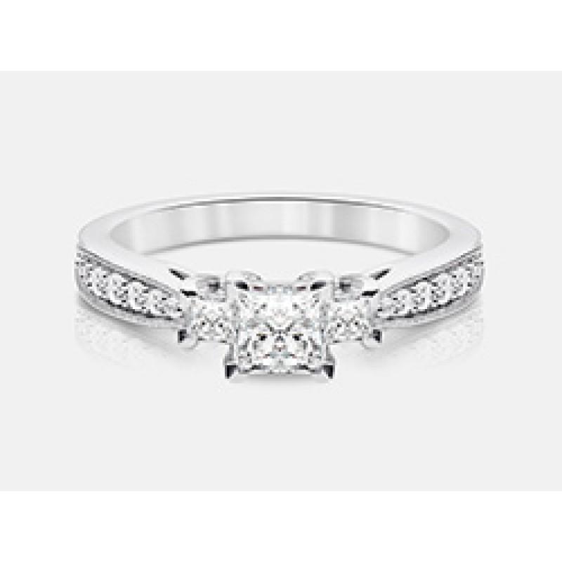 Princess-Cut Diamond Engagement Ring in 18K White Gold