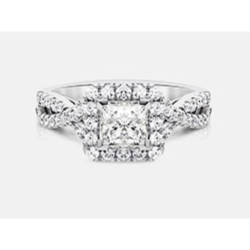 Princess-Cut Diamond Halo Engagement Ring in 18K White Gold