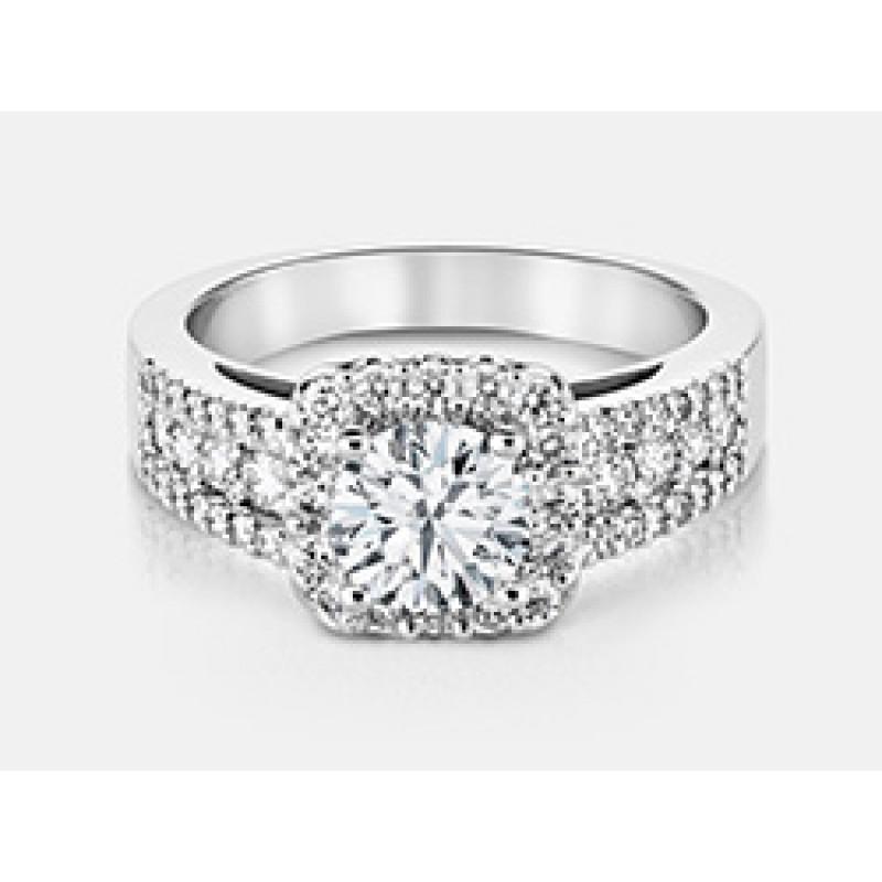 Round Brilliant Diamond Halo Engagement Ring in 18K White Gold