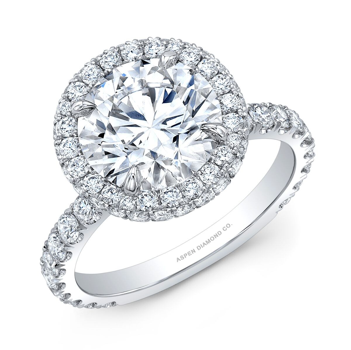 Round Brilliant Diamond Halo Engagement Ring in Platinum ...