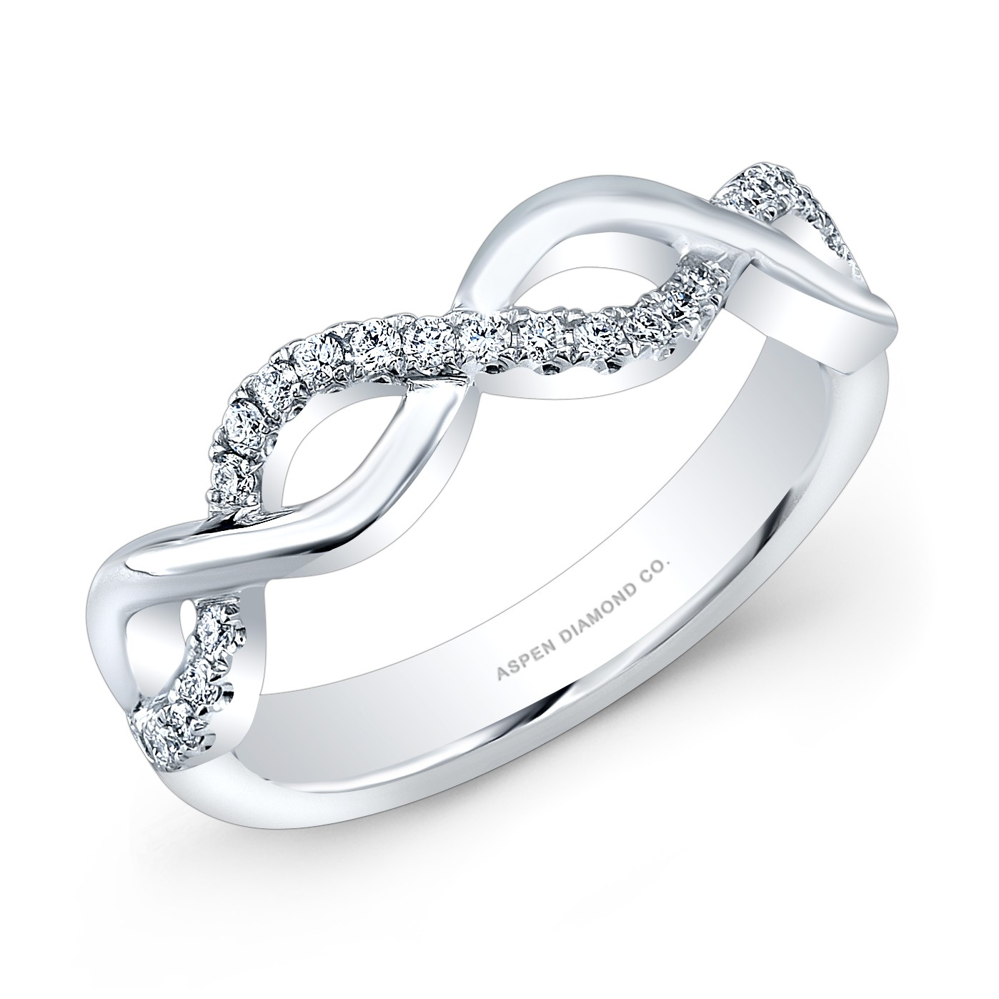 Round Pave Diamond Wedding Band in 18K White Gold