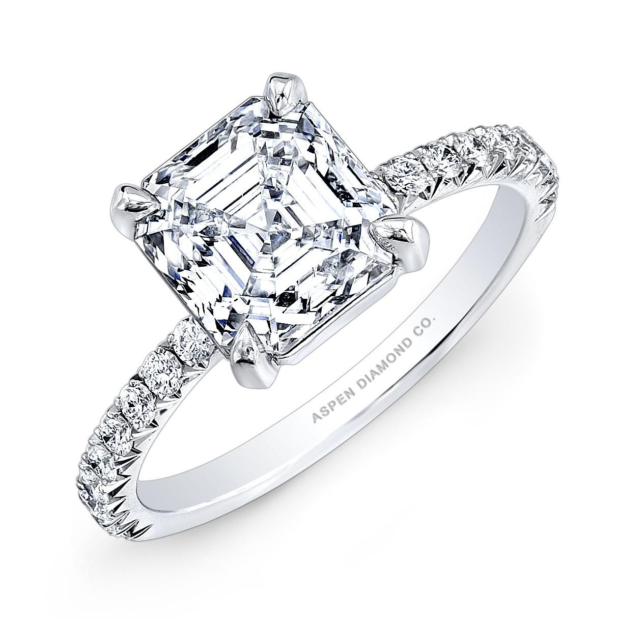 Asscher Cut Diamond Engagement Ring in Platinum