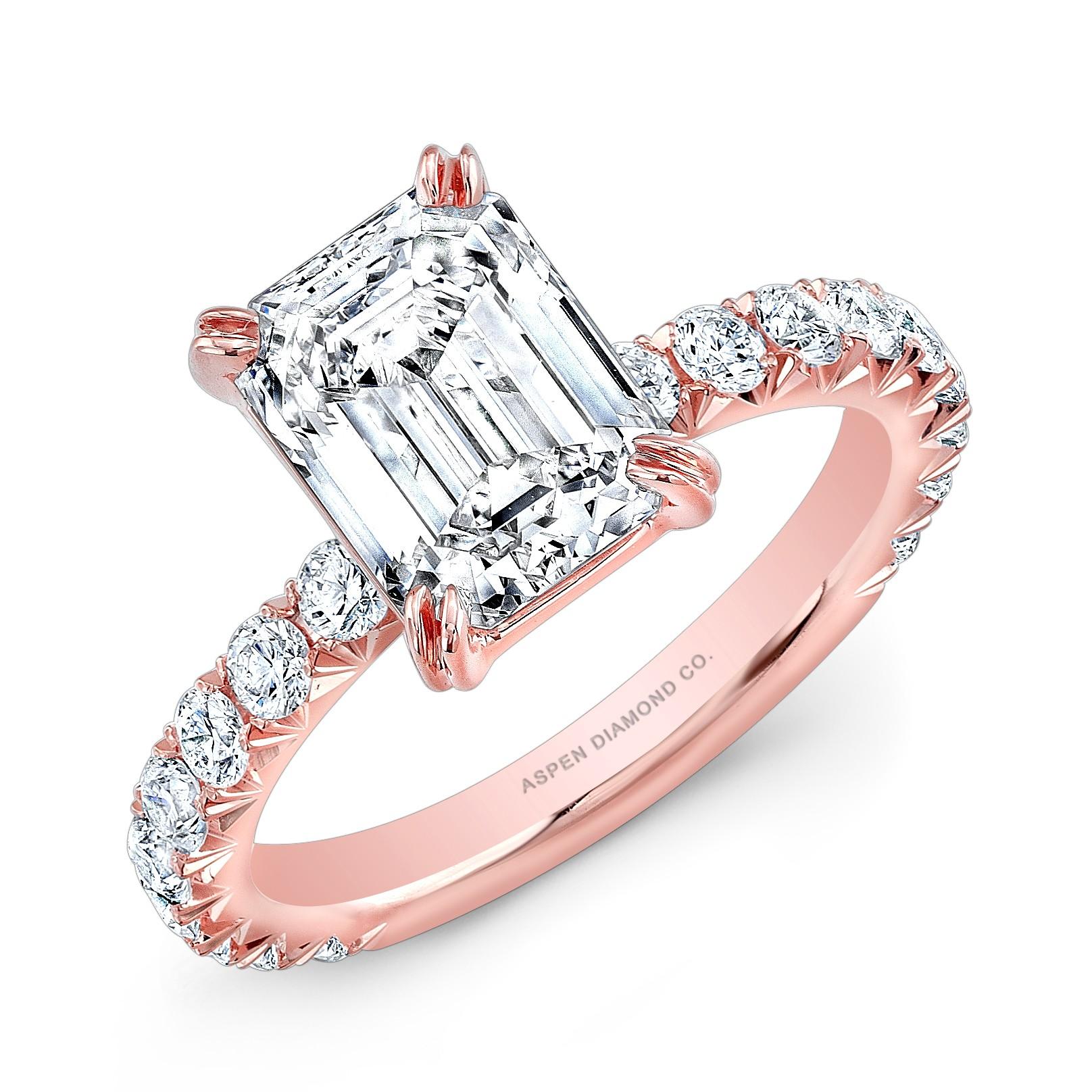 Emerald-Cut Diamond Ring in 18K Rose Gold