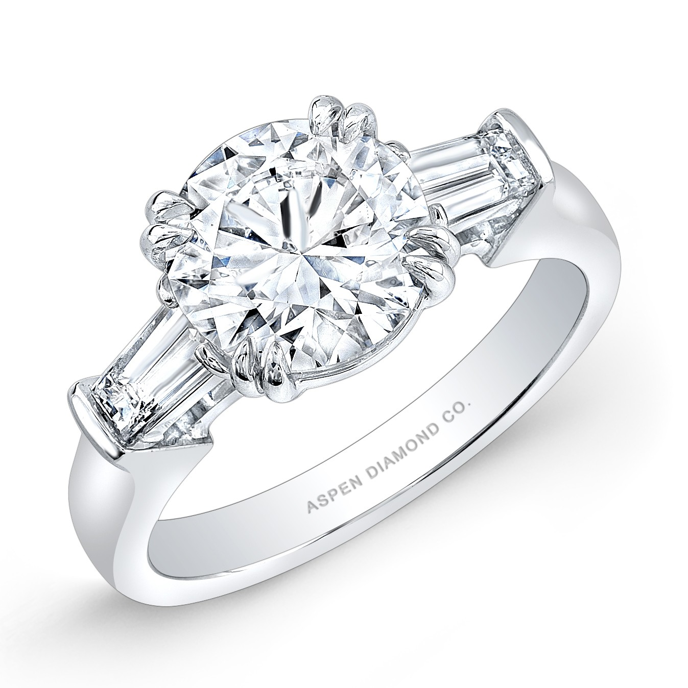 Round Brilliant Engagement Ring With Baguettes