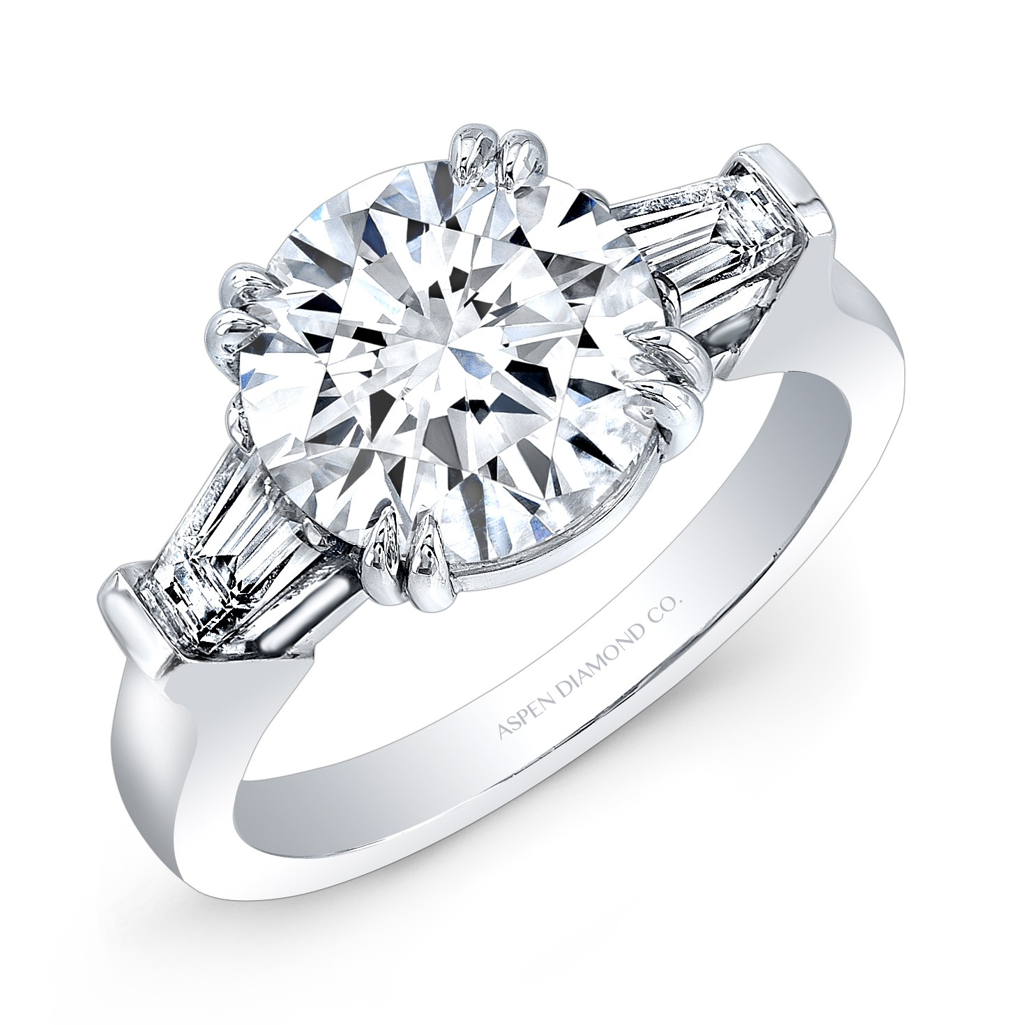 Round Brilliant Diamond Tapered Baguettes Engagement Ring ...