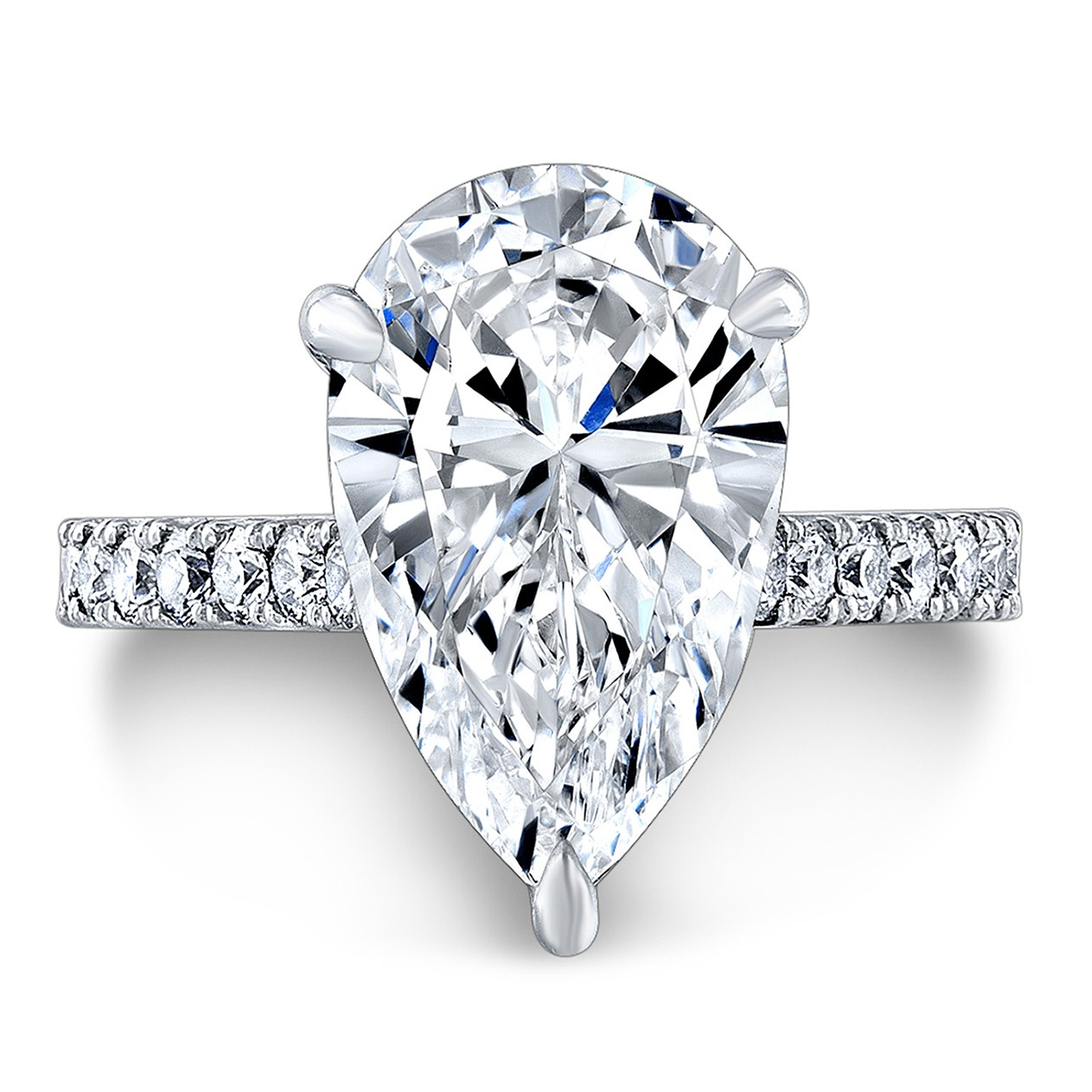 Pear Shaped Diamond Engagement Ring in Platinum