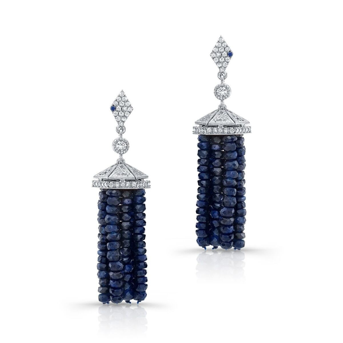 gemstones sterling with blue studs silver products deep earrings sapphire cabochon