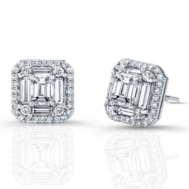 Emerald Cut Micropave Diamond Earrings in 18K White Gold