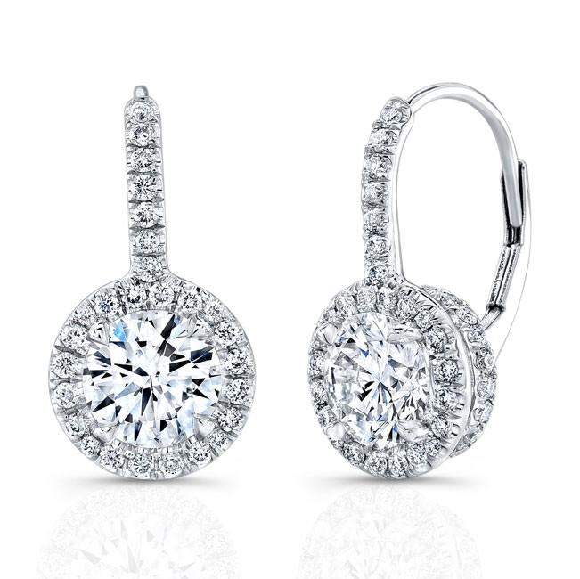 Round Brilliant Micropavé Diamond Earrings in 18k White Gold