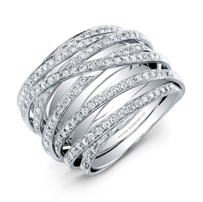 Layered Diamond Ring in 18K White Gold