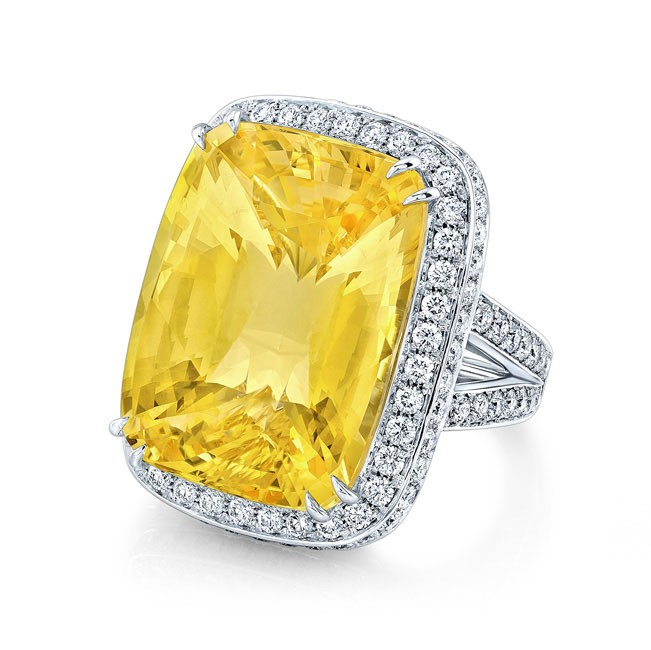 Cushion Cut Yellow Sapphire Ring in Platinum