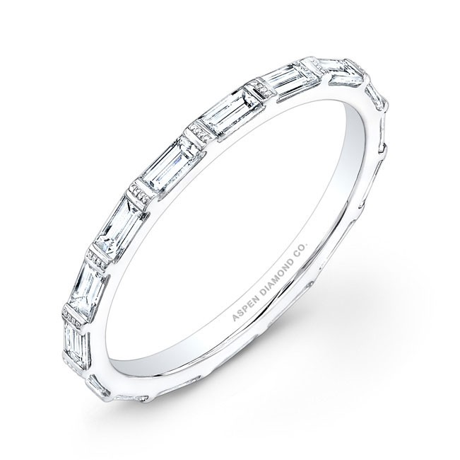 Emerald Cut Eternity Wedding Band in Platinum