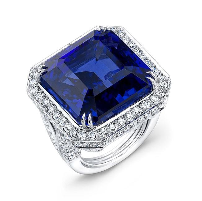 Radiant Cut Tanzanite and Diamond Ring in Platinum