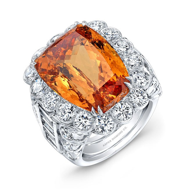 Cushion Cut Imperial Topaz Ring in Platinum