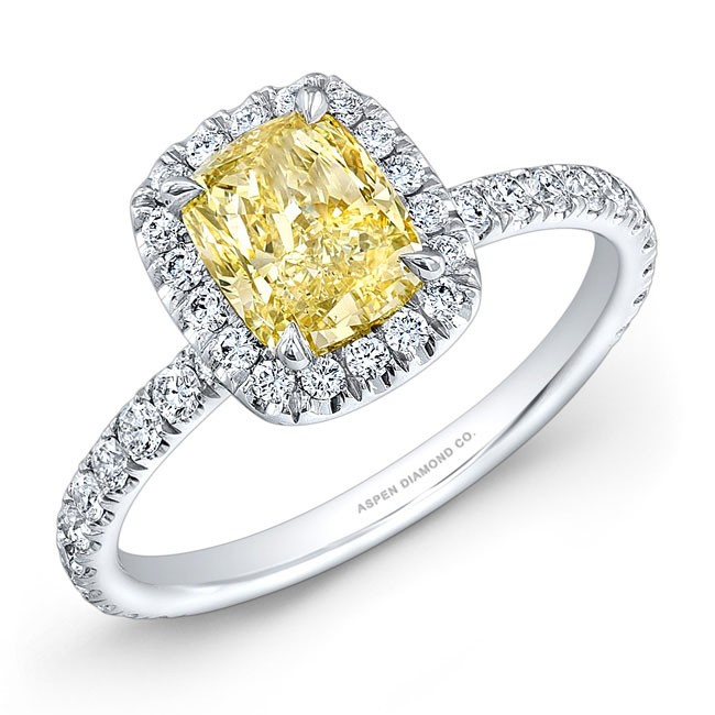 Cushion Cut Yellow Diamond Engagement Ring 18K White Gold