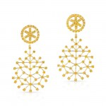 Yellow Diamond SnowFlake Earrings in 18K Yellow Gold