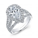 Pear-Shaped Diamond Halo Engagement Ring in Platinum