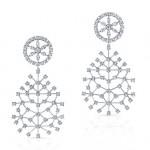 Round Brilliant Diamond Snowflake Earrings in 18K White Gold