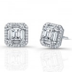 Emerald Cut Micropave Diamond Earrings in 18K White Gold