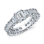 Emerald Cut Diamond Eternity Band in Platinum