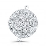 Round Diamond Ball Shaped Clasp in Platinum and 18K White Gold