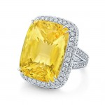 Cushion Cut Yellow Sapphire Ring in Platinum