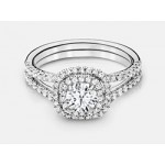 Round Brilliant Diamond Double Halo Engagement Ring in 18K White Gold
