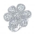Diamond 6.20 Total Carat Weight Wild Flower Ring in Platinum