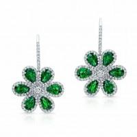 Tsavorite and Diamond Wild Flower Earrings in 18K White Gold