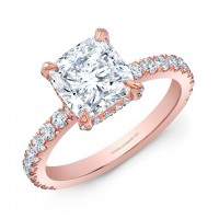 Cushion Cut Diamond Engagement Ring in 18K Rose Gold