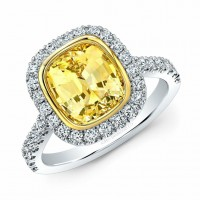 Yellow Sapphire and Diamond Halo Engagement Ring in 18K White Gold and Yellow Gold