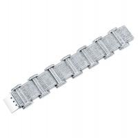 Princess Cut Diamond Men's Bracelet in 18K White Gold