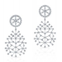 Round Brilliant Diamond Snowflake Earrings in 18K White Gold
